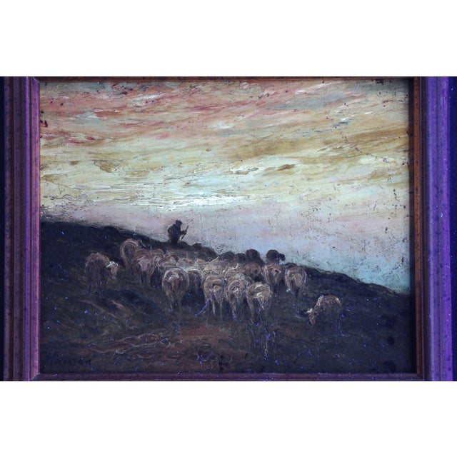 American Barbizon Painting of Sheep at Evening by Francis Wheaton For Sale - Image 10 of 11
