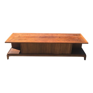 Mid-Century Lane Tambour Door Coffee Table With Glass Top For Sale