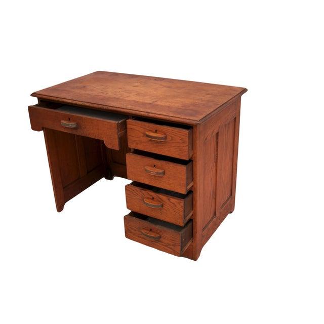 Small Oak Panel Desk - Image 3 of 5