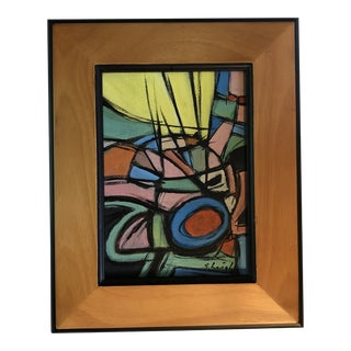 "Original Stephen Heigh Contemporary Small Abstract Painting "" Ray of Sun"" For Sale"