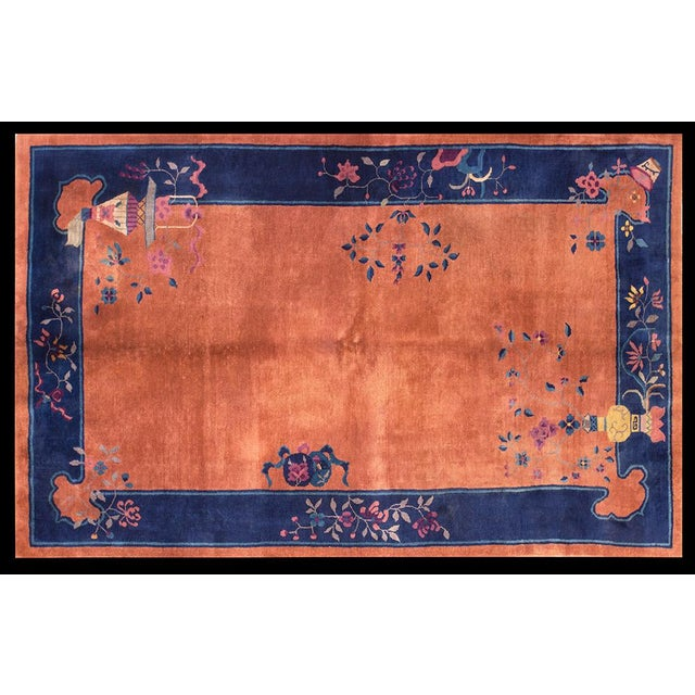 "Chinese Art Deco Orange and Blue Rug - 5'x7'10"" For Sale In New York - Image 6 of 6"
