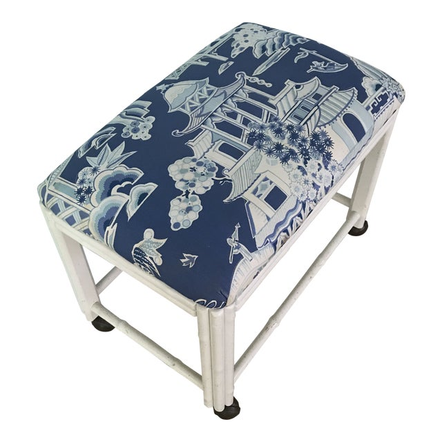 Vintage Drexel Faux Bamboo Vanity Stool For Sale