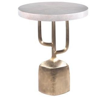 Cersei Side Table in Cream Shagreen and Bronze Patina Brass by R&y Augousti For Sale