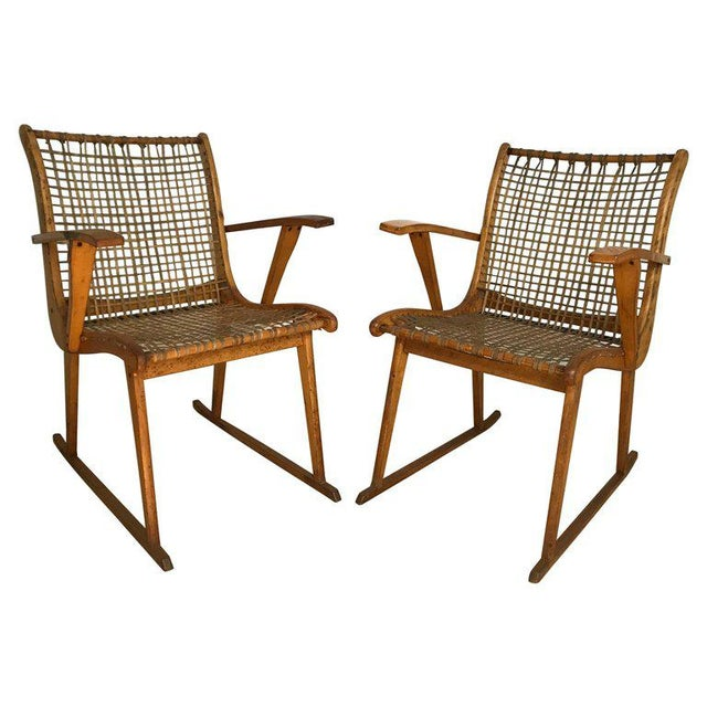 Wood Vermont Tubbs Wood Armchairs - A Pair For Sale - Image 7 of 7