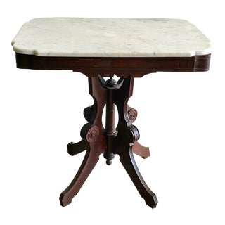 1940's Art Deco Marble Top Side Table For Sale