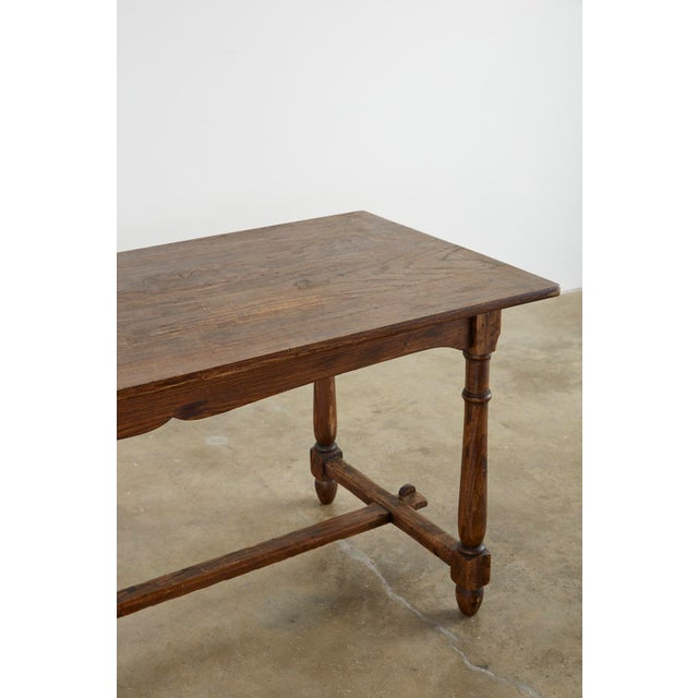 Early 20th Century Country English Provincial Oak Farmhouse Trestle Dining Table For Sale - Image 5 of 13