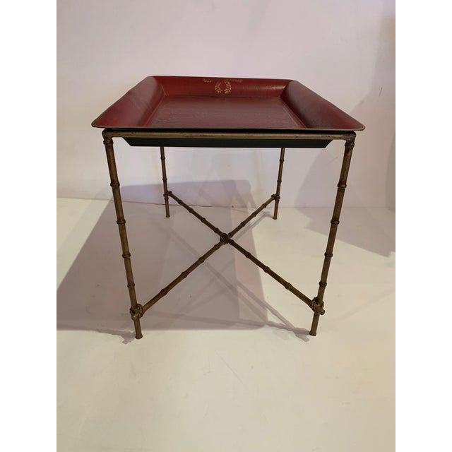 Tray Top Side Table With Gilt Bamboo Base For Sale In Philadelphia - Image 6 of 13