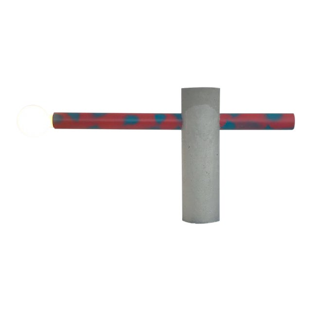 Red Spotted Tube Sculptural Concrete Light by Nicholas Tilma For Sale