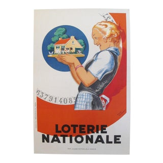 1925 Original French Art Deco Poster, Loterie Nationale For Sale