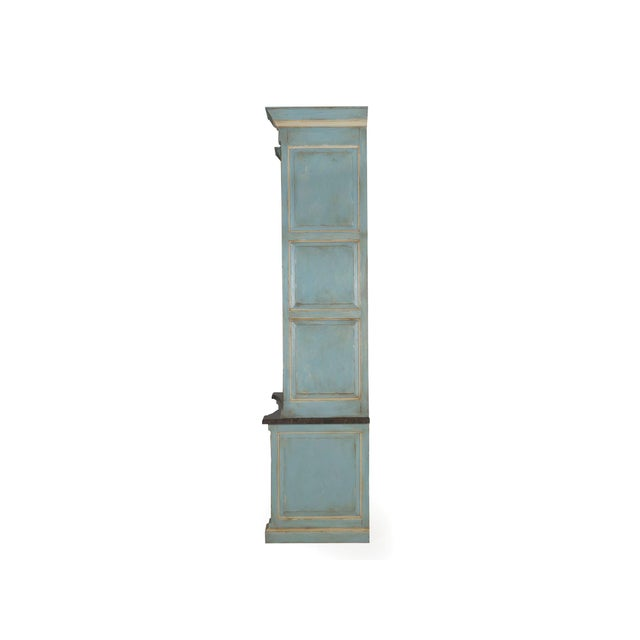Gustavian (Swedish) Swedish Gustavian Style Blue Painted Bookshelf Cabinet Bookcase by Lillian August For Sale - Image 3 of 13