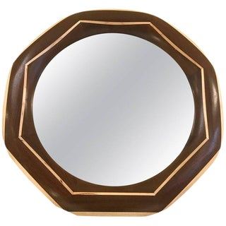 Custom Solid Walnut Mirror With Maple Trim and Maple Inlay For Sale