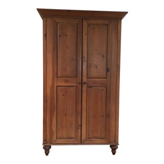 1980s Rustic Farmhouse Pine Armoire Entertainment Cabinet Bar For Sale