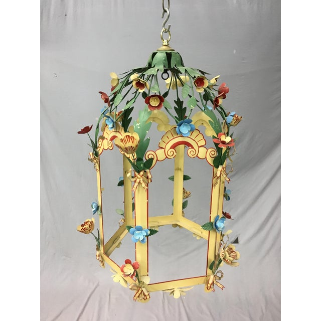 Palace Floral design ceiling chandelier with colorful flowers all over, 4 cluster bulbs make the room harmony and whimsical.