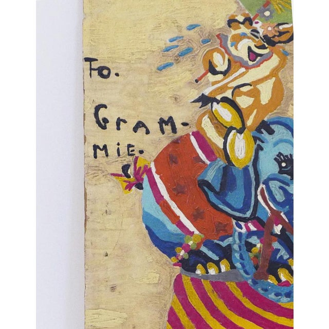 To Grammie painting was painted by a child for his or her grandmother. Expressive expressions and vibrant colors. This is...