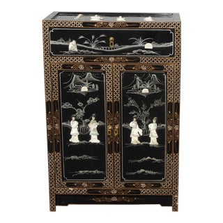 Vintage Chinese Asian Black Lacquer Storage Cabinet W Mother of Pearl Side Table For Sale