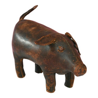 1960s Americana Dimitri Omersa for Abercrombie and Fitch Leather Pig Ottoman For Sale