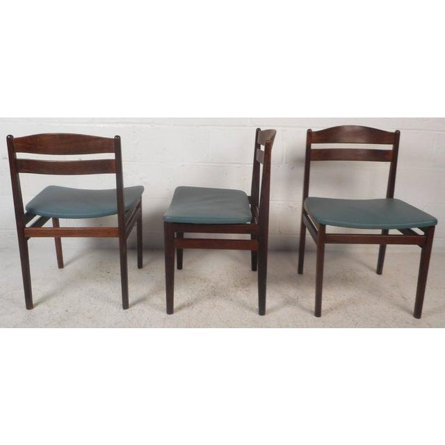 Set of Four Mid-Century Modern Danish Rosewood Dining Chairs with Leather Seats For Sale - Image 4 of 11