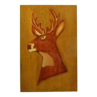 """1960 Vintage """"Black Deer"""" Wooden Carving For Sale"""