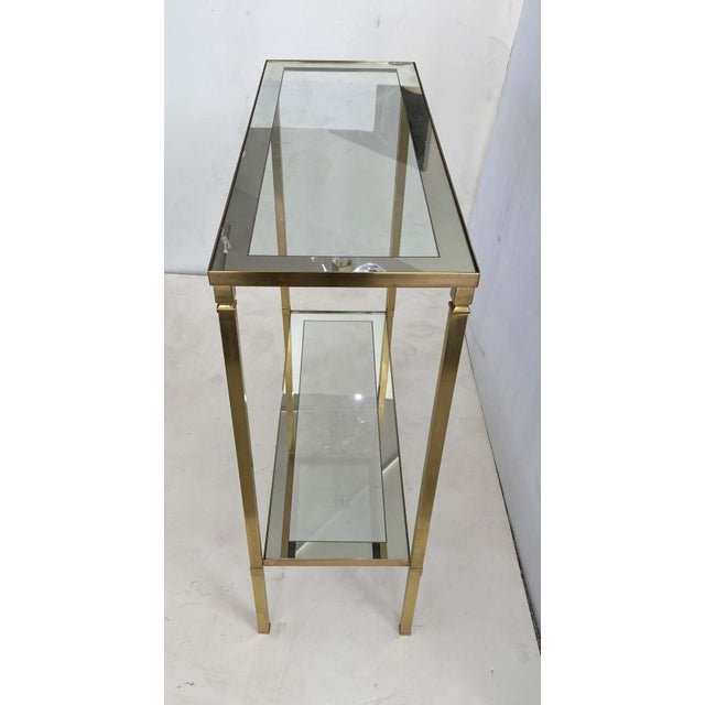 Mastercraft Style Brass Console Table For Sale - Image 9 of 13