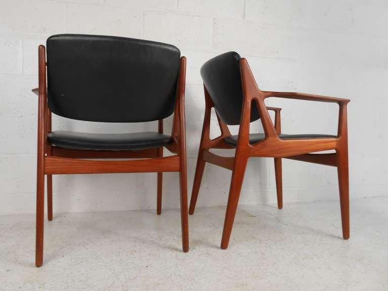 Arne Vodder Mid Century Modern Tilt Back Dining Chairs   Set Of 6   Image