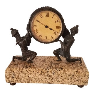 "Art Nouveau ""Hanhard"" German Marble and Bronze Jaegar Infantry Soldiers Mantel Clock For Sale"