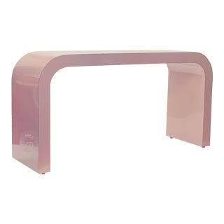 1980s Postmodern Light Mauve Waterfall Console Table For Sale
