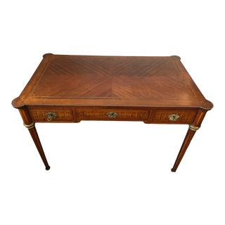 Louis XVI Style Inlaid Three Drawer Writing Table For Sale