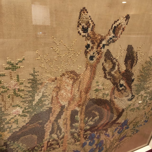 Vintage Deer With Fawn Cross Stitch Framed Textile Art For Sale - Image 9 of 12