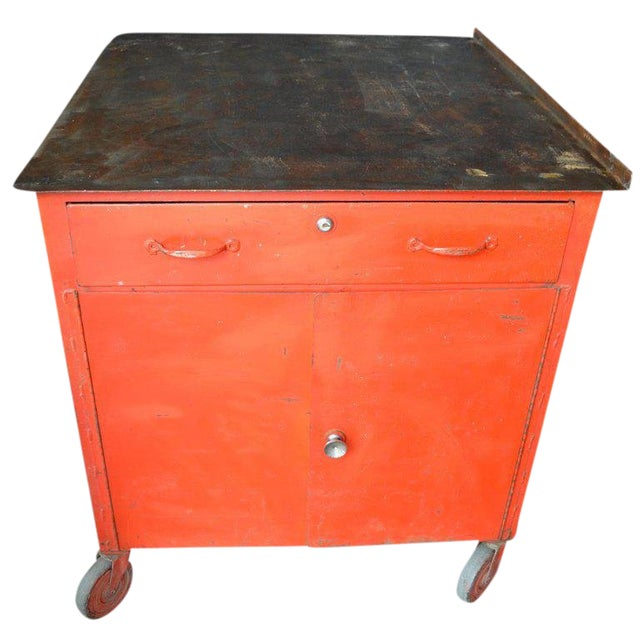 Storage Cabinet on Wheels With Steel Top as Kitchen Isle, Wait Stand, Home Bar For Sale