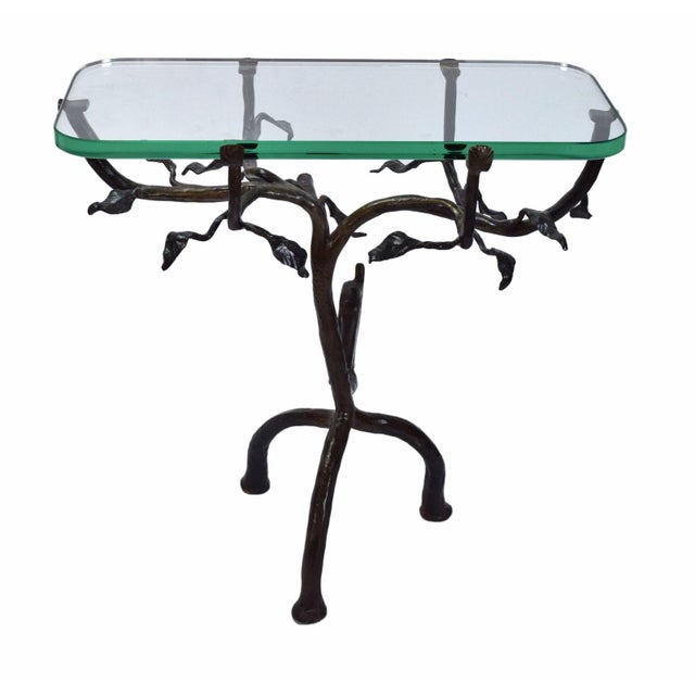 Black Vintage Twig and Owl Bronze Patinated Iron Table For Sale - Image 8 of 9