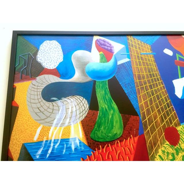 "Black David Hockney Rare Vintage 1993 "" the Other Side "" Lithograph Print Framed Collector's Pop Art Exhibition Poster For Sale - Image 8 of 13"