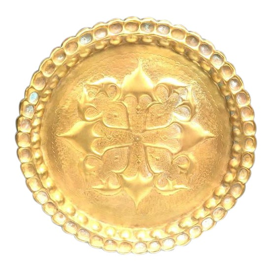 1940s Hammered Brass Gong / Tray Wall Art For Sale