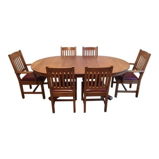 Stickley Mission Oak Pedestal Table Dining Set