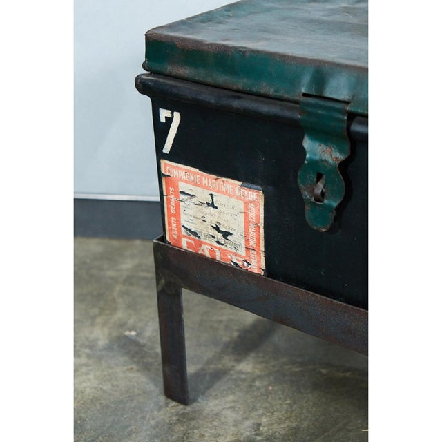 Industrial Belgian Military trunk into Coffee Table For Sale - Image 3 of 7