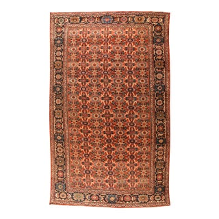 Antique Light Brown Persian Mahal Area Rug For Sale