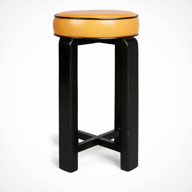 1940s French Art Deco Cocktail Nesting Table and Leather Stools Set For Sale In Los Angeles - Image 6 of 11