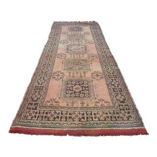 "Faded Long Distressed Vintage Turkish Oushak Runner Rug - 4'6"" X 12'3"" For Sale"