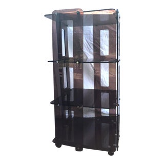 1970's Smoked Lucite Revolving Bookcase For Sale