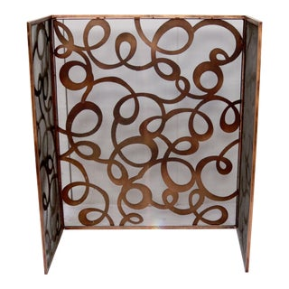 Hand-Cut Scroll Work Copper, Mid Century Modern,Three-Panel Fireplace Screen, For Sale