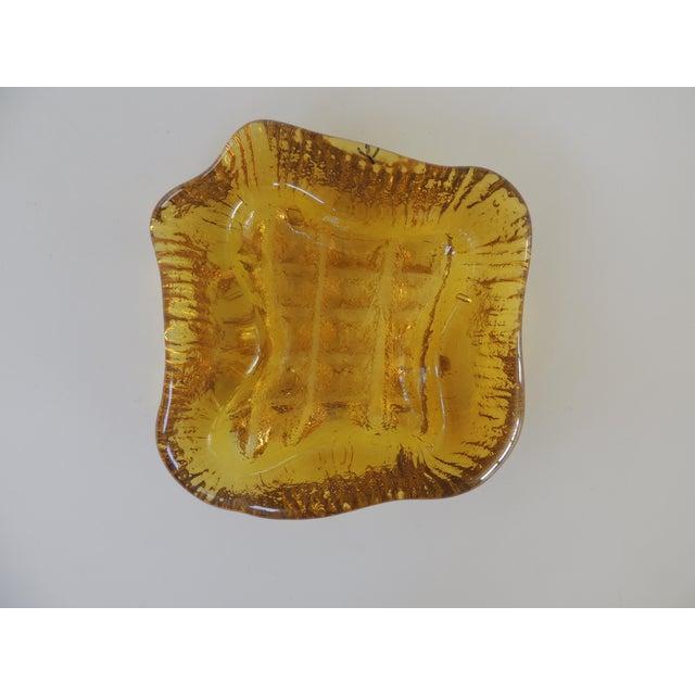 1970s Brutalist Blenko Amber Biomorphic Glass Bowl For Sale - Image 11 of 12