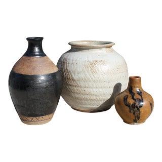 Mid-Century Studio Pottery Trio For Sale