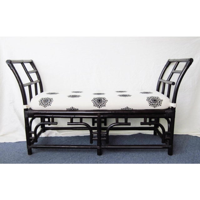 Bamboo & Rattan Chinese Chippendale Bench - Image 2 of 7