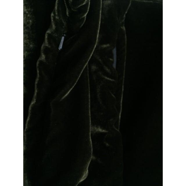 Moss Green Silk Velvet Lumbar Pillow Cover For Sale - Image 7 of 10