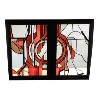 Abstract Leaded Glass Windows - a Pair For Sale