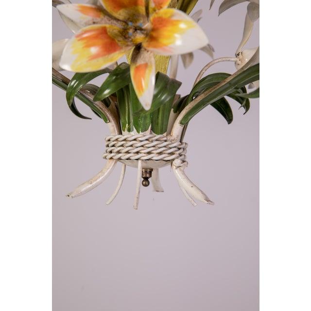 Madcap Cottage Tole Lily 3-Light Chandelier For Sale - Image 11 of 12
