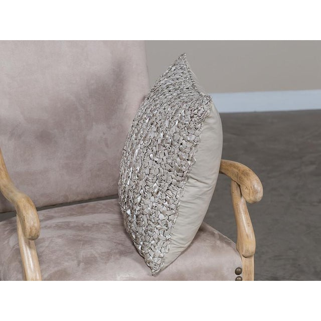 Contemporary Square Woven Silk Ribbon Pillow For Sale - Image 3 of 5