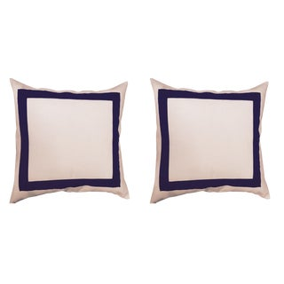 White Linen & Navy Square Pillow Covers - A Pair For Sale