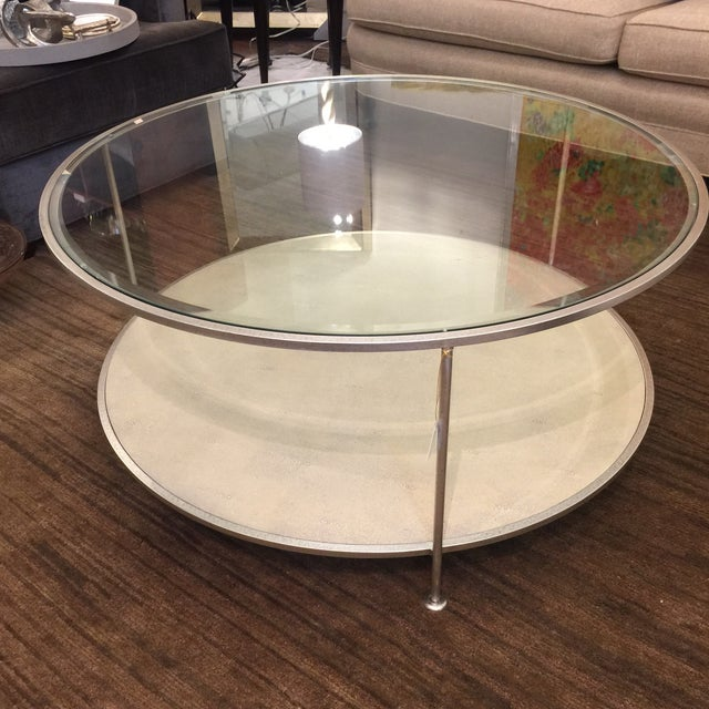 Shagreen cocktail table by Century Furniture and silver finish with glass top.