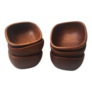 Vintage Teak Wood Bowls - Set of 6 For Sale