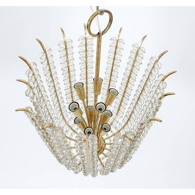 Bakalowits & Sohne Majestic Basket Crystal and Brass Chandelier Bakalowits, circa 1950 For Sale - Image 4 of 9